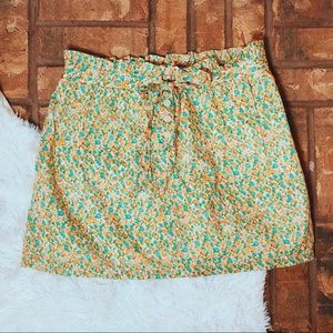 • J. Crew • floral skirt w/tie strap & buttons